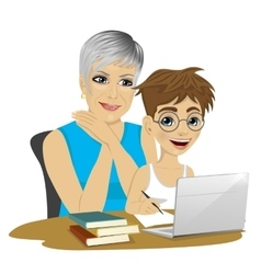 Cute grandson helping grandmother to use laptop vector