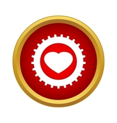 Heart in a gear icon simple style vector