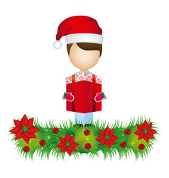 Boy faceless with gift and wreath with christmas vector