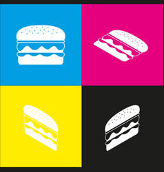 Burger simple sign white icon with vector