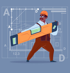 cartoon african american builder holding carpenter vector image