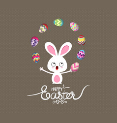 Easter bunny playful cute eggs fun humor vector