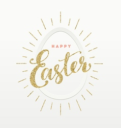 Easter greeting card glitter gold type design and vector