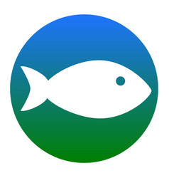 Fish sign white icon in vector