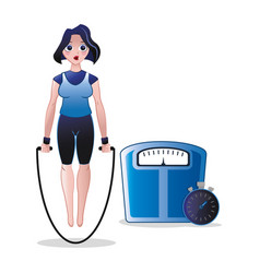 Fitness woman jump rope weight scale and stopwatch vector