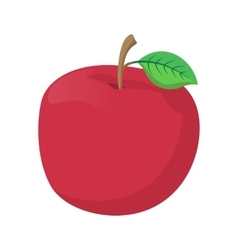 Fresh red apple cartoon icon vector image