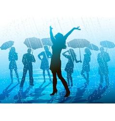 Girl enjoying the rain vector