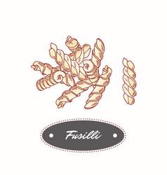 Hand drawn pasta fusilli isolated on white vector