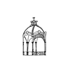 Hand-drawn pavilion with roof vector