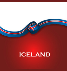 Iceland sport style flag ribbon classic style vector