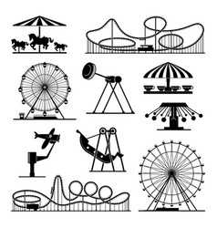 icons of different attractions in amusement vector image vector image