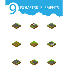 Isometric way set of repairs downward upwards vector