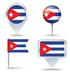 Map pins with flag of Cuba vector image