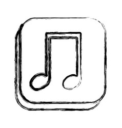 Monochrome sketch of square button with musical vector