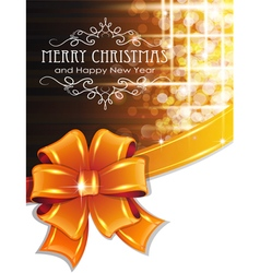 Orange christmas background with bow vector