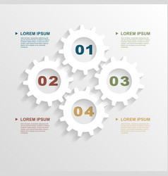 Paper gears infographic vector