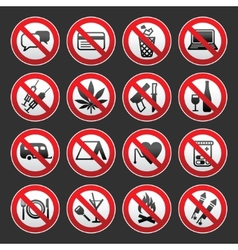 prohibited symbols on gray background vector image vector image