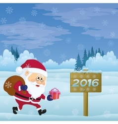 Santa Claus in Christmas Forest vector image vector image