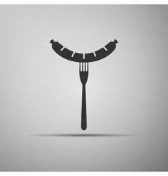 Sausage on fork icon vector image vector image