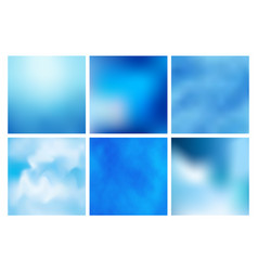 Set of blue abstract colorful blurred vector