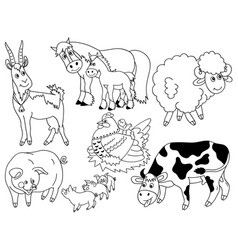set of farm animals vector image vector image