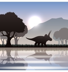 Silhouette dinosaur in landscape vector image vector image
