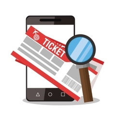 Smartphone lupe and tickets design vector
