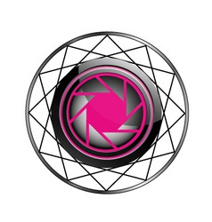 Stylized photography logo in pink and black vector image vector image