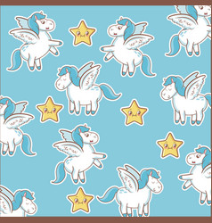 Unicorn stars decoration magic animal wallpaper vector
