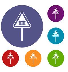 warning road sign icons set vector image vector image