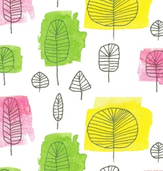 Watercolor trees pattern vector