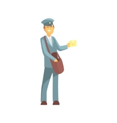 Young Smiling Postman In Uniform vector image vector image