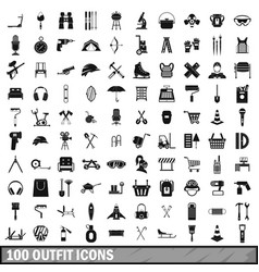 100 outfit icons set simple style vector