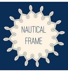 Nautical ropes frame over navy blue background vector