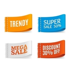 Clothes fabric sale labels set vector