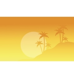 Silhouette of palm with fog scenery vector