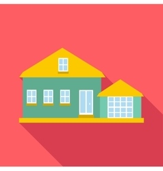 House with yellow roof icon flat style vector