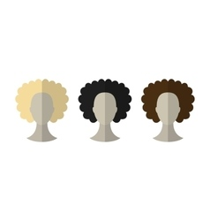 Flat icon hairstyles blonde brunette different vector
