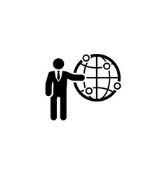Global business icon flat design vector