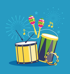 Fireworks and musical instruments on blue vector