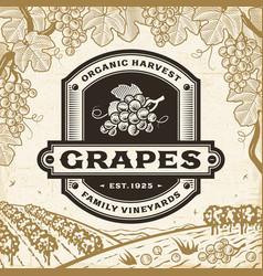 Retro grapes label on harvest landscape vector