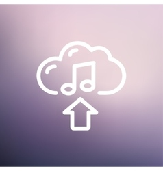 Music uploading thin line icon vector