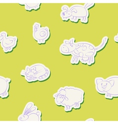 Seamless background with domestic animal kids draw vector