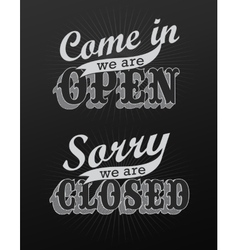 Open and closed vintage retro signs vector