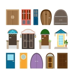 Collection of house doors vector
