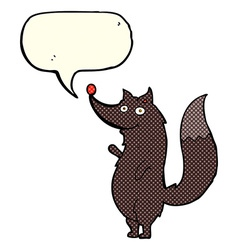 Cartoon waving wolf with speech bubble vector