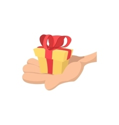 Hand with gift cartoon icon vector