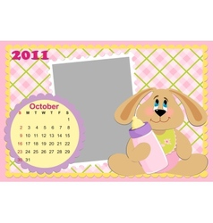 Babys monthly calendar for october 2011s vector image
