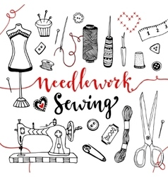 Needlework and sewing equipment and elements vector