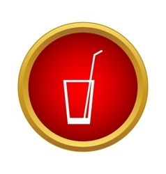 Glass with straw icon simple style vector